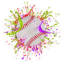 Colorful splashing with baseball isolated on white Royalty Free Stock Photo