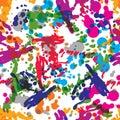 Colorful splattered web design repeat pattern, art ink blob, daub paintbrush drawing. Bright graffiti seamless background, eps8.
