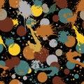 Colorful splattered web design repeat pattern, art ink blob, mes