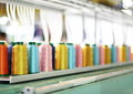 Colorful Spool Embroidery machine Royalty Free Stock Photo