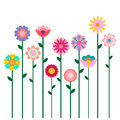 Colorful spring flowers field illustration isolated on white background