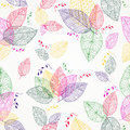 Colorful spring leaves seamless pattern happy silhouettes composition on background eps vector file organized in layers for easy Stock Photography