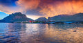 Colorful spring sunset in the lecco lake alps italy Stock Photos