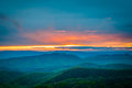 Colorful spring sunset over the Blue Ridge Mountains, seen from
