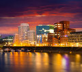 Colorful spring sunset of Rhein river at night in Dusseldorf Royalty Free Stock Photo
