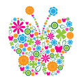 Colorful spring symbols clustered shape butterfly Royalty Free Stock Image