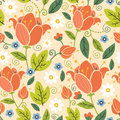 Colorful spring tulips seamless pattern background vector with hand drawn tulip flowers on light beige Royalty Free Stock Photography