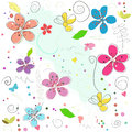 Colorful springtime abstract doodle flowers vector illustration pattern