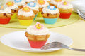 Colorful springtime cupcakes Stock Photos