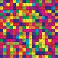 Colorful square bricks mosaic seamless pattern background