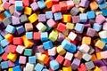 Colorful square foam cubes texture