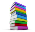 Colorful stack of books school isolated on white background Stock Photo