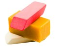 Colorful stack of erasers Royalty Free Stock Photo