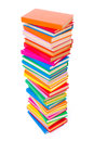 Colorful stacked books top view of on white background Stock Photography