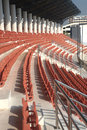 Colorful of stadium seats in background. Royalty Free Stock Photo