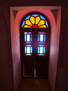 The colorful stained glass decoration in historical house in kas kashan iran Stock Images