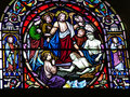 Colorful stained glass window Stock Photo
