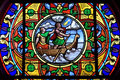 Colorful stained glass window charite sur loire france department nievre region burgundy district cosne cours town small city Stock Images