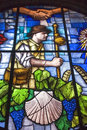 Colorful stained-glass window in church in Granon Royalty Free Stock Image
