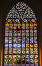 Colorful stained glass window inside brussels cathedral belgium europe Stock Images