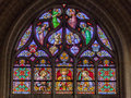Colorful stained glass window inside brussels cathedral belgium europe Stock Photography