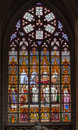 Colorful stained glass window inside brussels cathedral belgium europe Stock Image