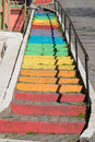 Colorful stairs in istanbul city Royalty Free Stock Image