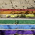Colorful stairs like the rainbow in madrid with shadows Royalty Free Stock Photo
