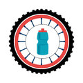 Colorful stamp button with cyclist jar
