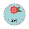 Colorful stamp with pink flower and heraldic shapes
