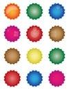 Colorful starburst badge shapes, starburst seals, glossy Royalty Free Stock Photo