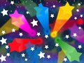 Colorful stars background shows shooting space and colors showing Stock Image