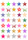 Colorful stars set of christmas Stock Image