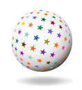 Colorful stars on an white ball sphere Stock Photo
