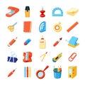 Colorful Stationery Icons Set Royalty Free Stock Photo