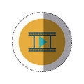 Colorful Sticker Circular Border With Filmstrip With Play Button