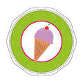 Colorful sticker with ice cream food