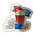 colorful sticker with popcorn cup and glasses 3D with movie tickets and credit card Royalty Free Stock Photo