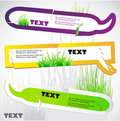 Colorful stickers for speech. Green grass. Stock Image