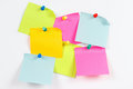 Colorful stickers on white message board Royalty Free Stock Photo
