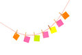 Colorful stickies hanged red rope isolated white Stock Images