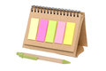 Colorful sticky notes on blank notebook isolated white Stock Photography