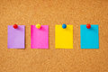 Colorful sticky notes cork board Royalty Free Stock Photo