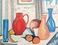 Colorful still life painting original oil on wood Royalty Free Stock Photography