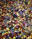 Colorful semiprecious round stones background