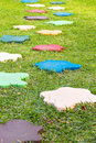 Colorful Stone block walk path in the park Stock Image