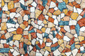 Colorful stone mosaic with chaotic pattern seamless background photo texture Royalty Free Stock Photos