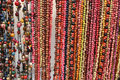 Colorful strands of tagua beads at the Otavalo mar Stock Photo