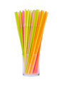 Colorful straws arranged in a glass Stock Photo