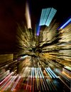 Colorful streaks of lights from a city building abstract the at night in melbourne Stock Images